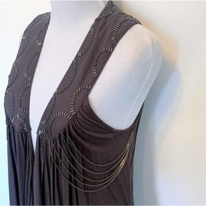 Mystree Beaded & Chain Duster Vest ~ Small NWT